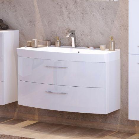 Waschbeckenschrank Florent gebogen 100cm 2 Schubladen - weiß