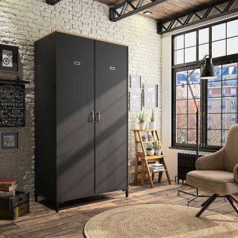 RANGEMENT NUIT - MANCHESTER wardrobe with 2 doors Helvezia oak