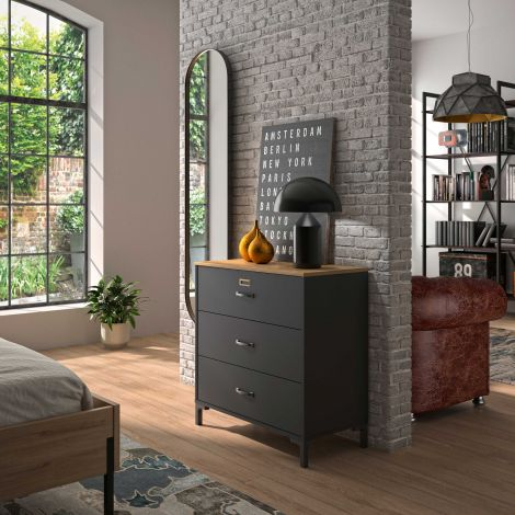 RANGEMENT NUIT - MANCHESTER chest with 3 drawers Helvezia oak