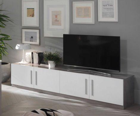 TV-Schrank Greta 208 cm - Beton/Weiß