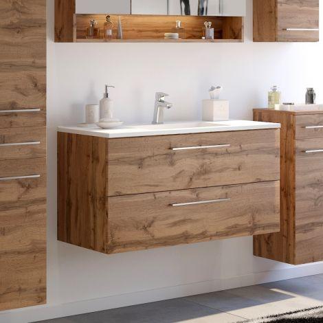 Waschbeckenschrank Sefa 100cm 2 Schubladen - Eiche wotan