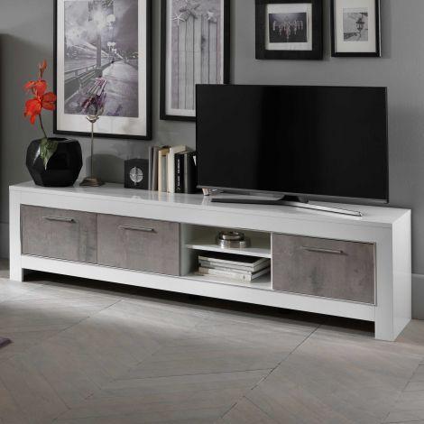 Modena Fernsehmöbel 207 cm - Weiß/Beton
