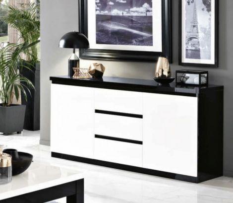 Sideboard Roma 2 Türen und 3 Schubladen - schwarz/weiß