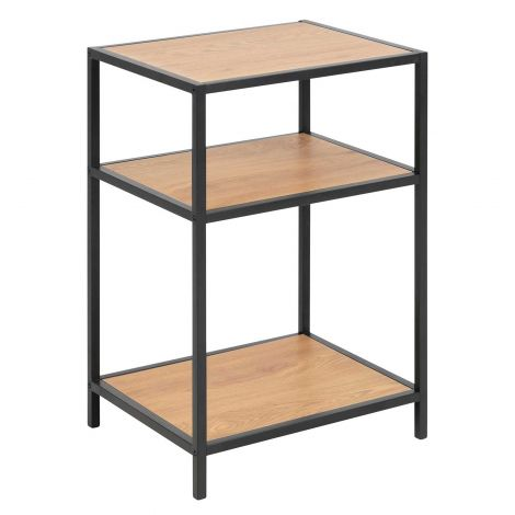 Seaford bed side table - matt black, wild oak