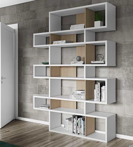 Bücherschrank Lissabon 3 - weiß/Eiche