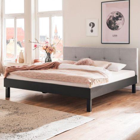 Doppelbett Bosko 180x200 mit Blockfüßen - beige/grau