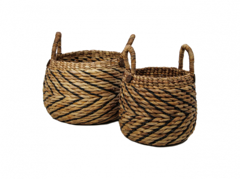 Set aus 2 Körben Warwas - natur/schwarz - Wasserhyazinthe