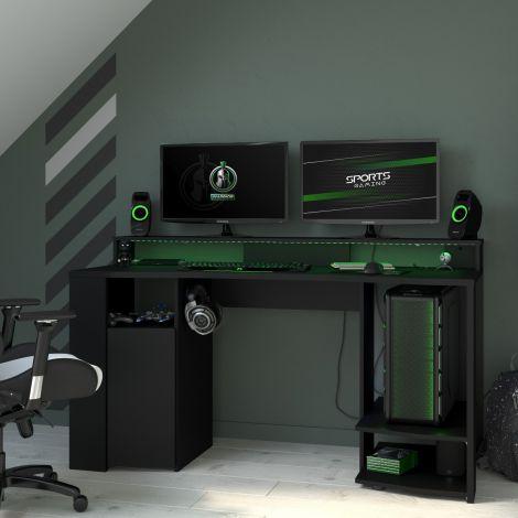 Gaming-Tisch 152cm mit LED-Leiste - schwarz