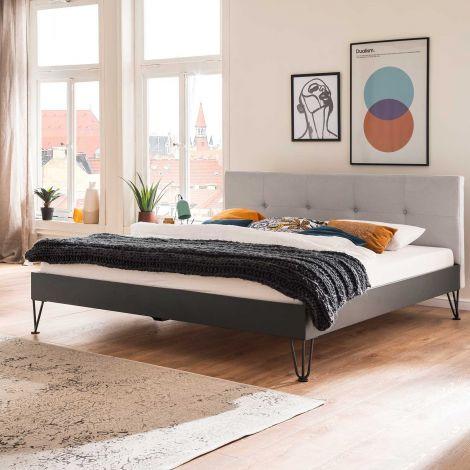 Doppelbett Bosko 180x200 mit Haarnadelfüßen - beige/grau