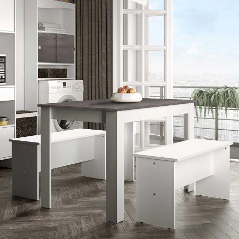 Esstisch Nice mit Bänken - weiß/betoniert