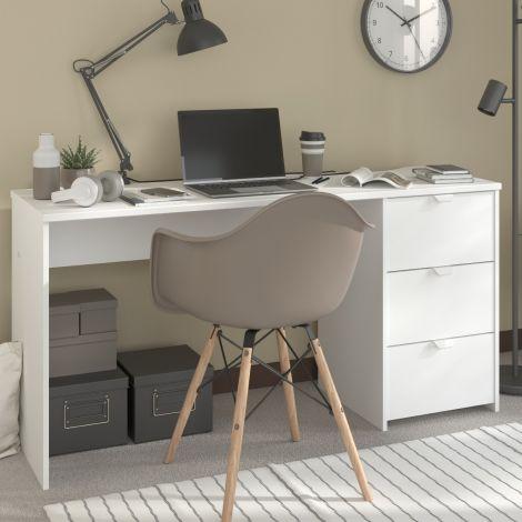 Schreibtisch Vialli 150cm 3 Schubladen - weiß