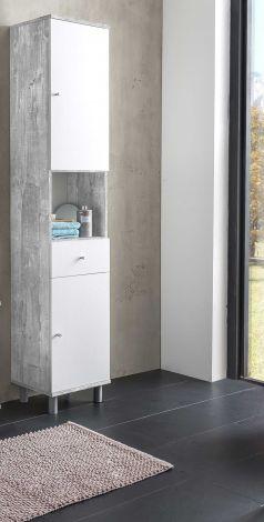 Säulenschrank Benja 2 Türen und 1 Schublade - Weiß/Beton