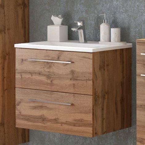 Waschbeckenschrank Sefa 60cm 2 Schubladen - Eiche wotan