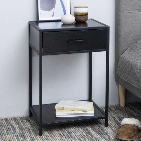 Seaford bed side table - matt black, black ash