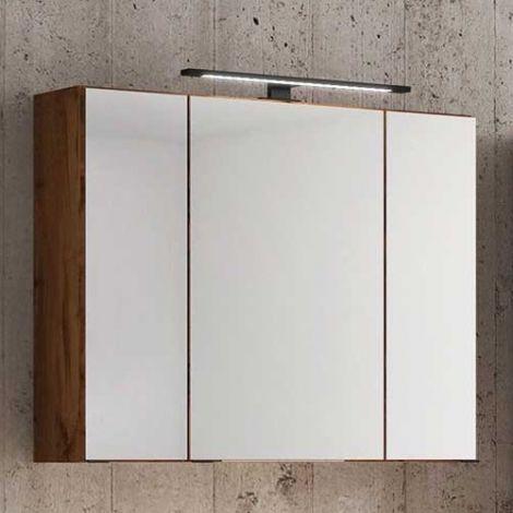 Spiegelschrank Dusan 80cm mit 3 Türen - Eiche wotan
