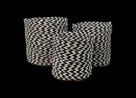 3er-Set Körbe Marwa - schwarz/weiß - Bast/Seegras