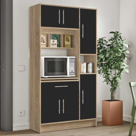 Küchenschrank Louise für Mikrowelle - Eiche/schwarz