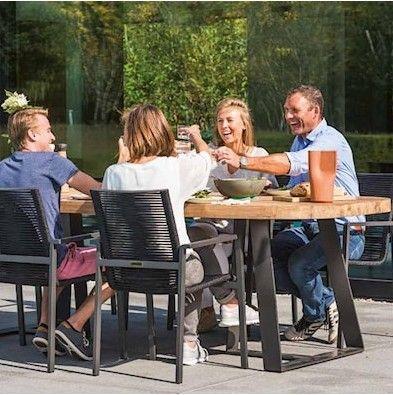 Gartentisch Sienna 100 x 250 - dunkelgrau/teak
