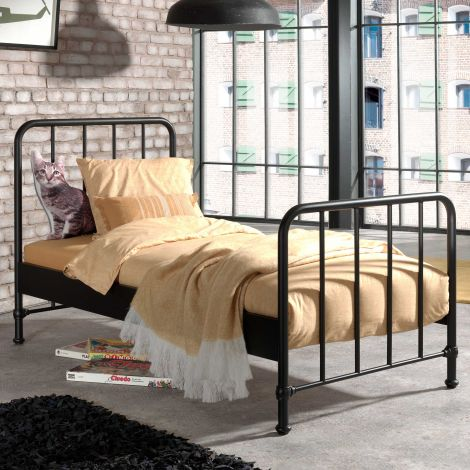 Einzelbett Bronxx Metall 90x200 - mattschwarz
