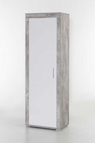 Kleiderschrank Lake 1 Tür - weiß/Beton