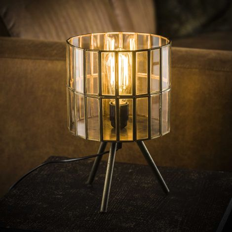 Tischleuchte 1L Art Deco Tri-Pod runder Schirm - Bronze antik - Antike bronze