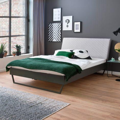 Doppelbett Visca 180x200 mit Schlittenfüßen - beige/grau