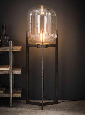 Stehlampe Lampenschirm aus Glas Stativ - Alt Silber Finish