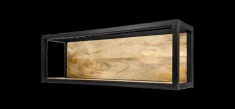 Wandkasten Nivelliere - 75x25 cm - Mangoholz / Eisen