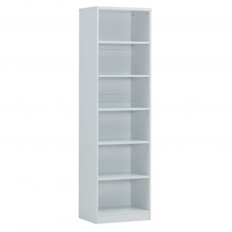 Bücherschrank Spacio 55cm mit 5 Einlegeböden - weiß