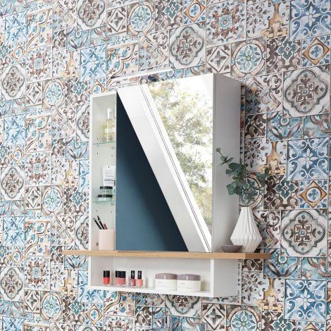 Spiegelschrank Nove Mila 90 cm - weiß/Eiche