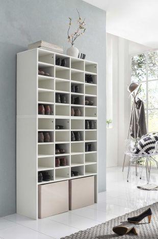 Schuh- und Wohnregal mit 40 Fächern - Weiß Melamin Dekor