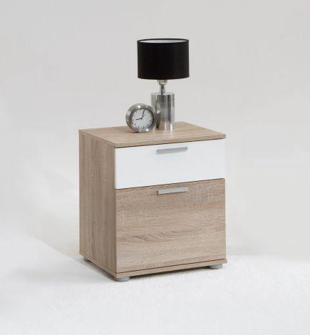 Nachttisch Jack mit 2 Schubladen braune Eiche/weiß