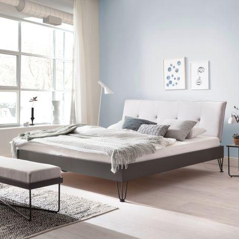 Doppelbett Bastos 160x200 mit Haarnadelfüßen - beige/grau