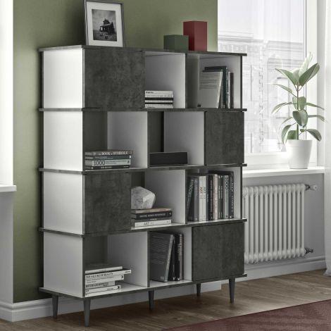Bücherregal Fame - Weiß/Beton