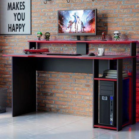 Gaming-Schreibtisch Marquis 136cm - schwarz/rot