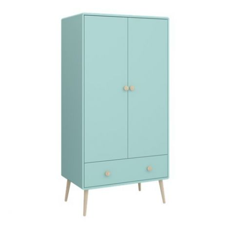 Wardrobe GAIA - Wardrobe with 2 doors and 1 drawer - COOL MINT