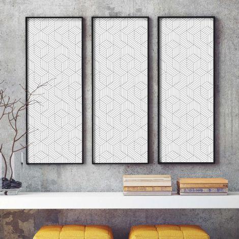 Selbstklebende Tapete Striped Hexagon - weiß/grau