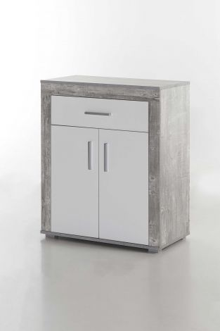 Schuhschrank Lake 2 Türen und 1 Schublade - Weiß/Beton