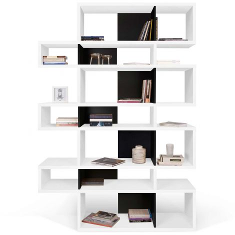 Bücherschrank Lissabon 3 - weiß/schwarz