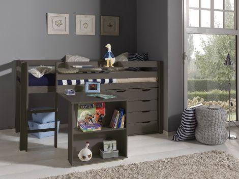 Halbhochbett Charlotte mit Schreibtisch, Hochkommode und Regal - taupe