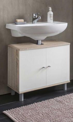 Waschtischunterschrank Benja 2 Türen - weiß/Eiche