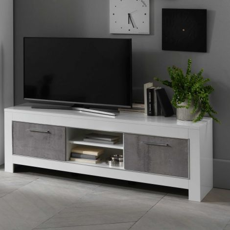Modena Fernsehmöbel 160 cm - Weiß/Beton