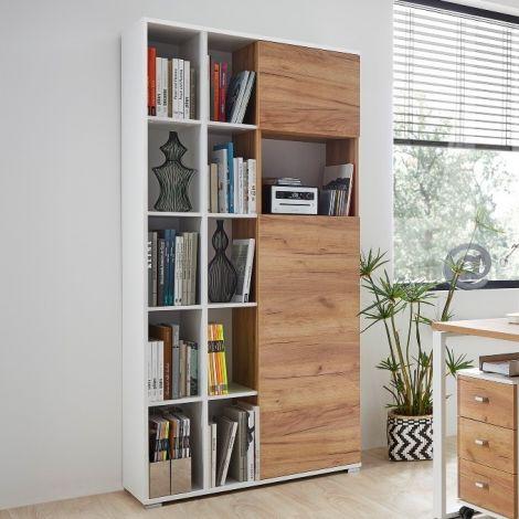 Bücher- und Aufbewahrungsschrank Lloris mit 2 Türen - weiß/Eiche