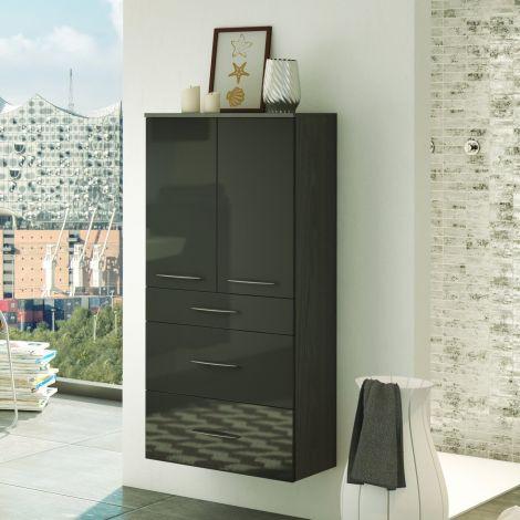 Badezimmerschrank Florent 60cm 2 Türen und 3 Schubladen - graphit/hochglanz-grau