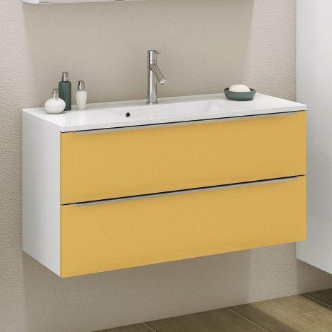 Waschbeckenschrank Hansen 100cm 2 Schubladen - gelb/weiß