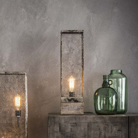 Tischlampe Rechteck Mesh Holzfuß - Verwitterten Kupfer