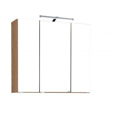 Spiegelschrank Bobbi 90cm Modell 2 3 Türen und led Beleuchtung - Eiche