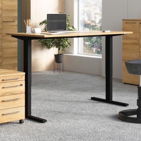 Sitz-Steh-Schreibtisch Osmond 160cm elektrisch verstellbar - Eiche/schwarz