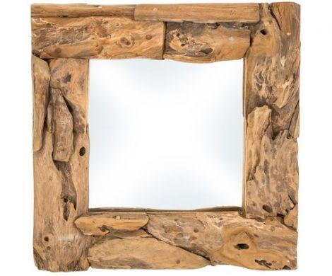 Wandspiegel - 50x50 cm - Teak Wurzelholz Holz