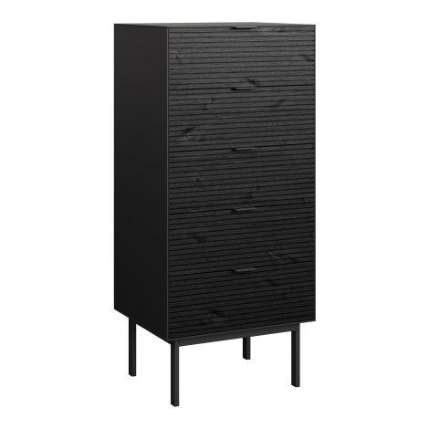 Dresser SOMA 005 - Dresser with 5 drawers - BLACK/BLACK